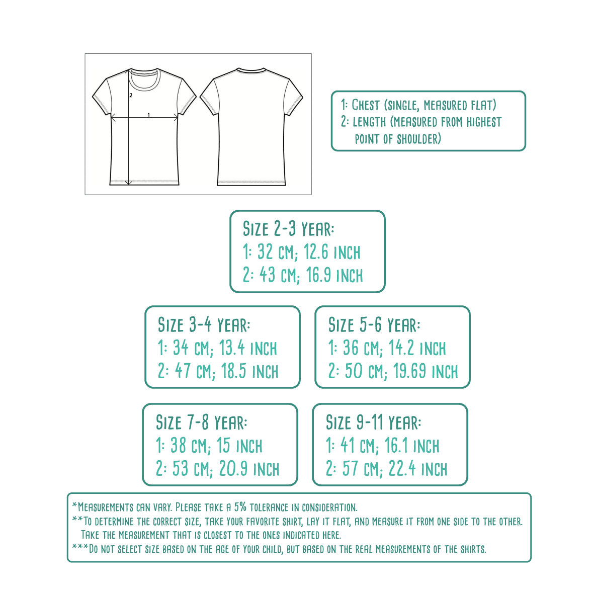 Size table for kids shirts with short sleeves by KMLeon.
