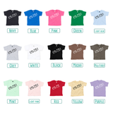 Colour options for baby or toddler shirts with short sleeves by KMLeon.