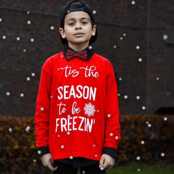 ''tis the season to be freezin'' kids longsleeve shirt