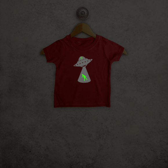 Alien abduction glow in the dark baby shortsleeve shirt