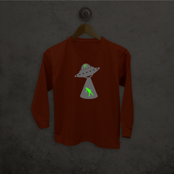 Alien abduction glow in the dark kids longsleeve shirt