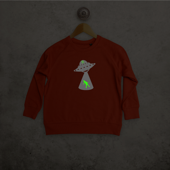 Alien abduction glow in the dark kids sweater