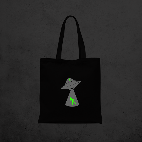 Alien abduction glow in the dark tote bag
