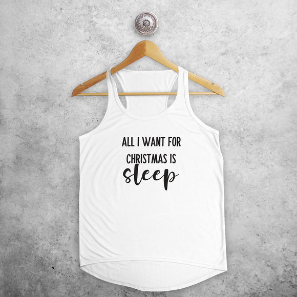 Adult tank top, with 'All I want for Christmas is sleep' print by KMLeon.