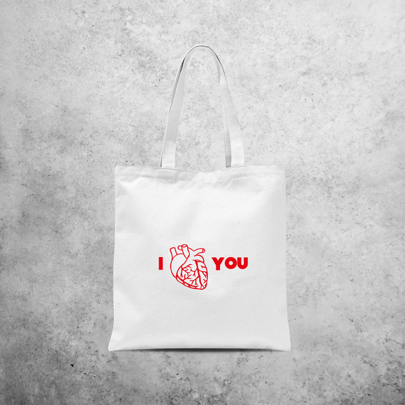 Anatomically correct love tote bag