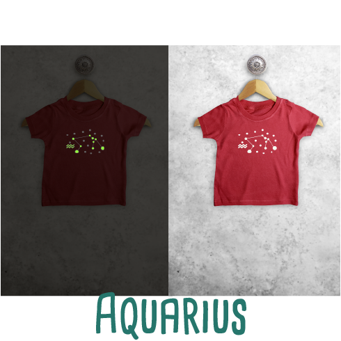 Star sign glow in the dark baby shortsleeve shirt