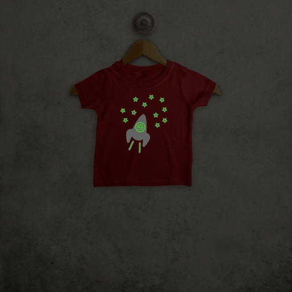 Astronaut glow in the dark baby shortsleeve shirt