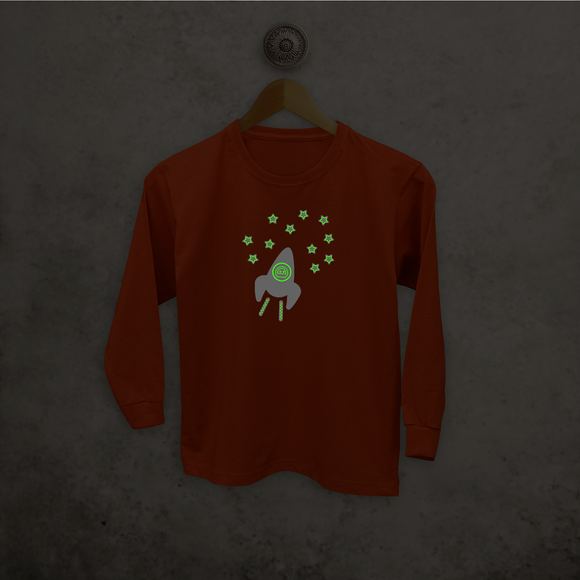 Astronaut glow in the dark kids longsleeve shirt