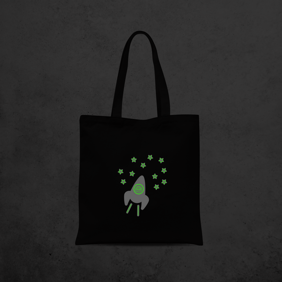 Astronaut glow in the dark tote bag