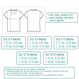 Size table for baby or toddler shirts with short sleeves by KMLeon.