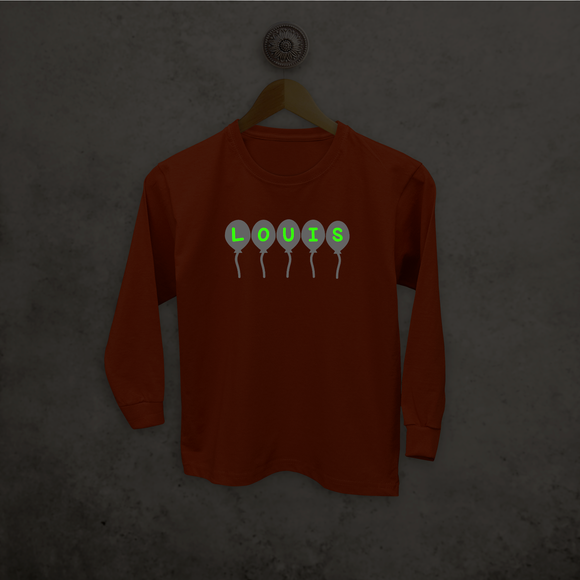 Balloons glow in the dark kids longsleeve shirt