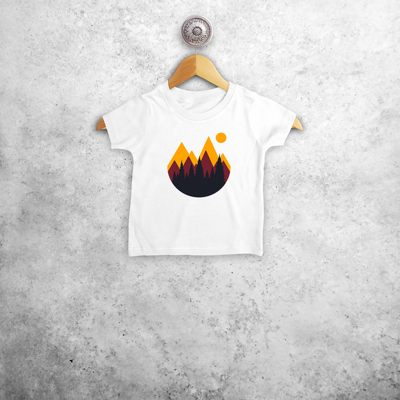 Mountains and sunset baby shortsleeve shirt
