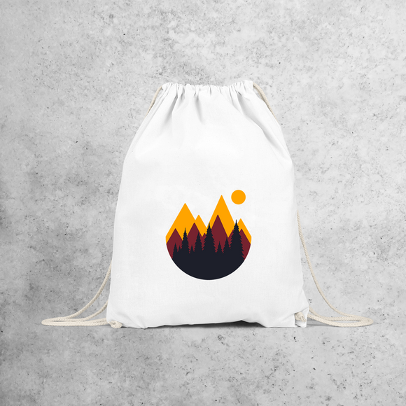 Mountains and sunset backpack