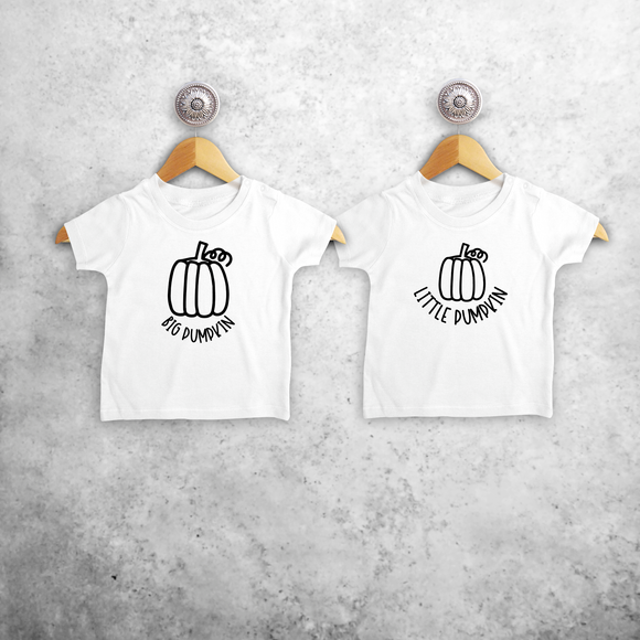 'Big pumpkin' & 'Little pumpkin' baby sibling shirts