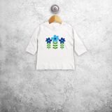 Blue flowers baby longsleeve shirt