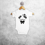 Bow and flowers baby shortsleeve bodysuit
