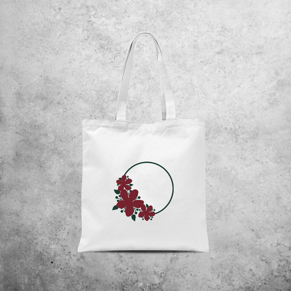 Circle and flowers tote bag
