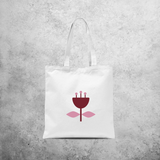 Pink and burgundy flower tote bag