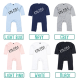 Colour options for baby or toddler rompers with long sleeves by KMLeon.