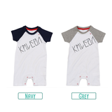 Colour options for baby or toddler rompers with short sleeves by KMLeon.