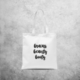 'Brains, beauty, booty' tote bag