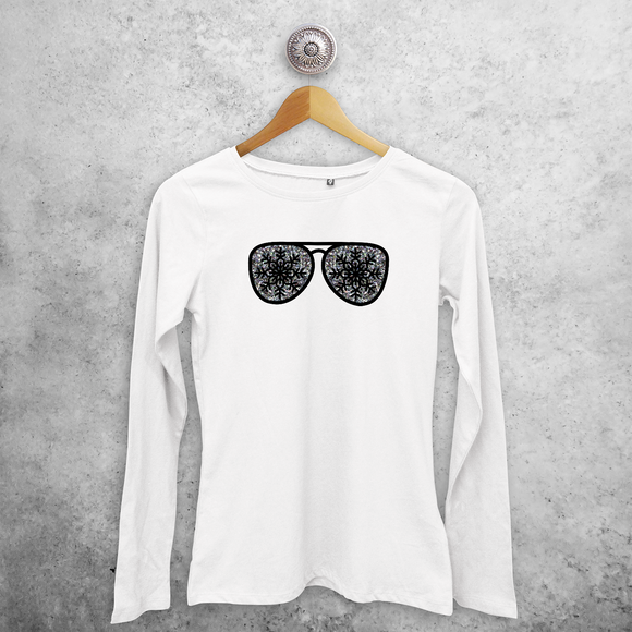 Adult shirt with long sleeves, with glitter snow star glasses print by KMLeon.