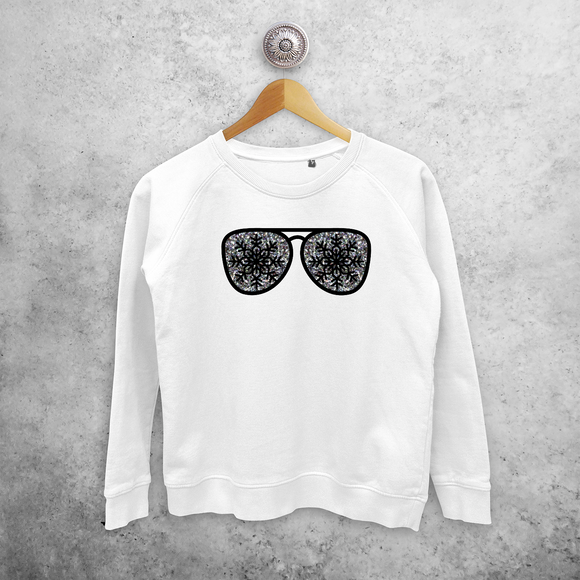 Adult sweater, with glitter snow star glasses print by KMLeon.