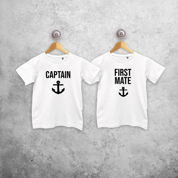 'Captain' & 'First mate' kids sibling shirts