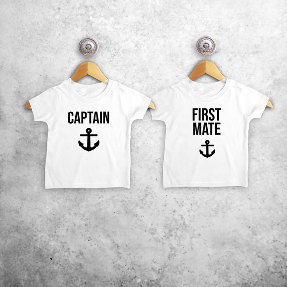'Captain' & 'First mate' baby sibling shirts