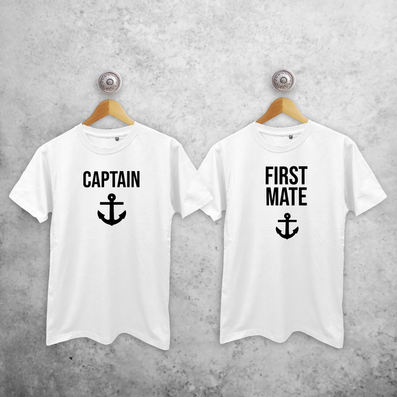 'Captain' & 'First mate' adult sibling shirts