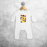 Yellow and burgundy circles baby romper