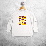 Yellow and burgundy circles kids sweater