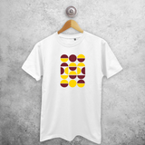 Yellow and burgundy circles adult shirt
