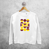 Yellow and burgundy circles sweater