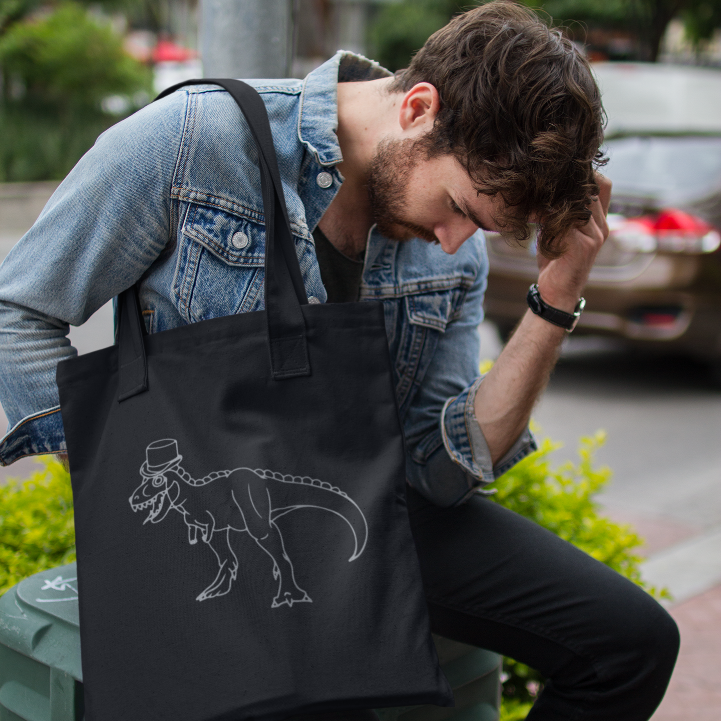 Dino with tophat tote bag