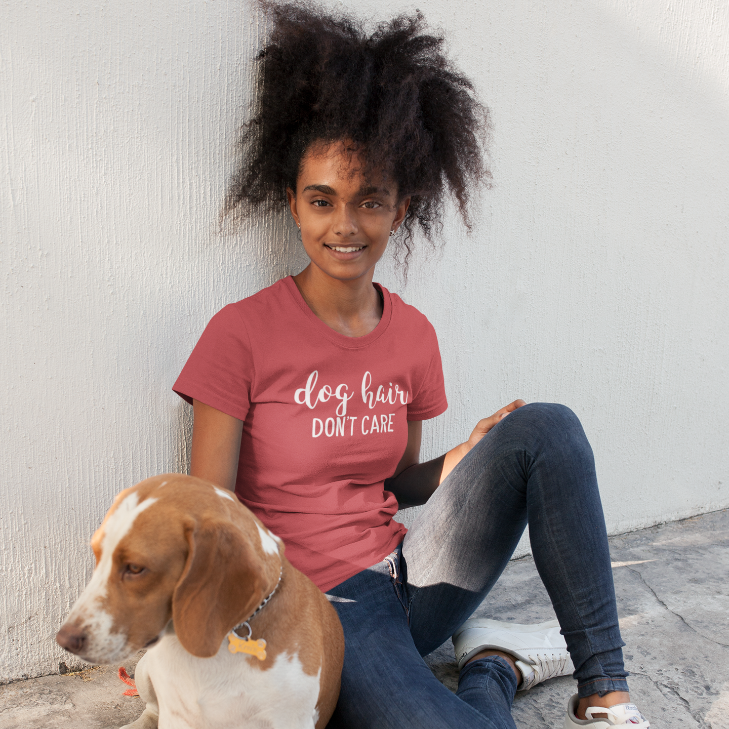 'Dog hair, don't care' adult shirt