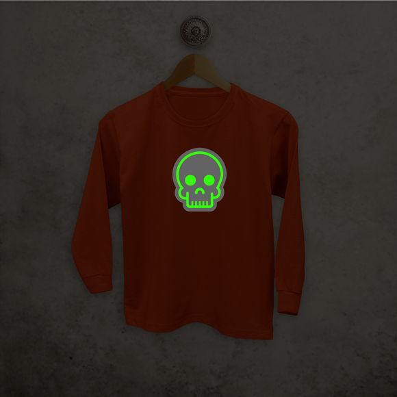 Skull glow in the dark kids longsleeve shirt
