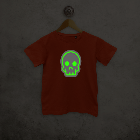 Skull glow in the dark kids shortsleeve shirt