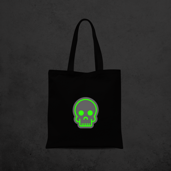 Skull glow in the dark tote bag