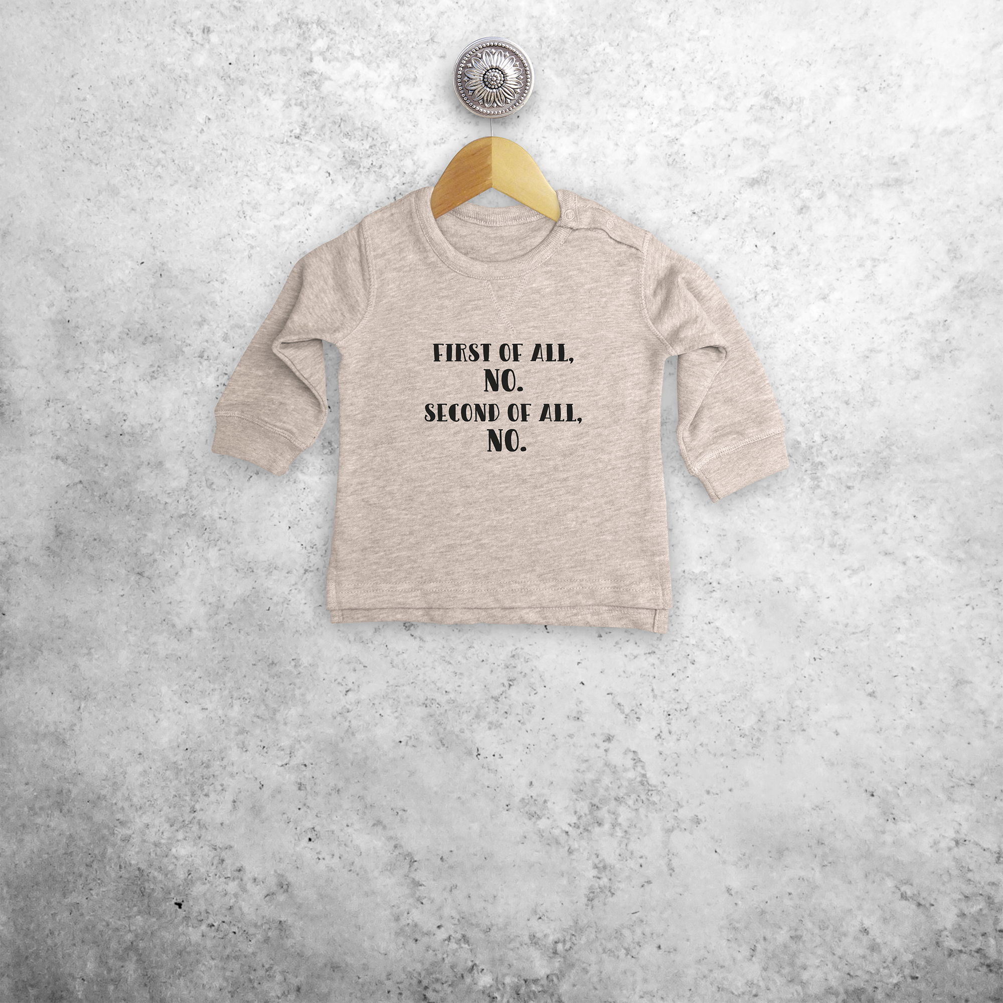 'First of all, no. Second of all, no.'  baby sweater