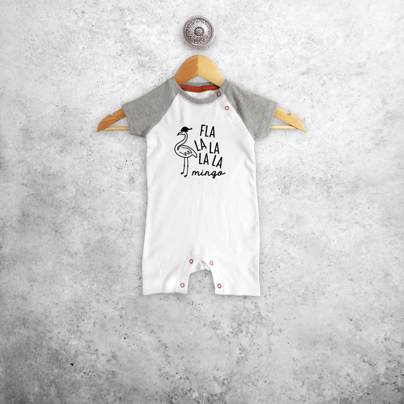 Baby or toddler romper with short sleeves, with 'Fla la la la la mingo' print by KMLeon.