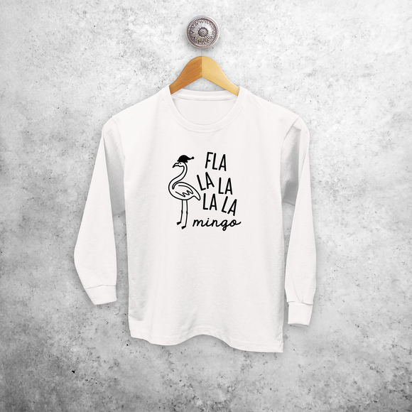 Kids shirt with long sleeves, with 'Fla la la la la mingo' print by KMLeon.