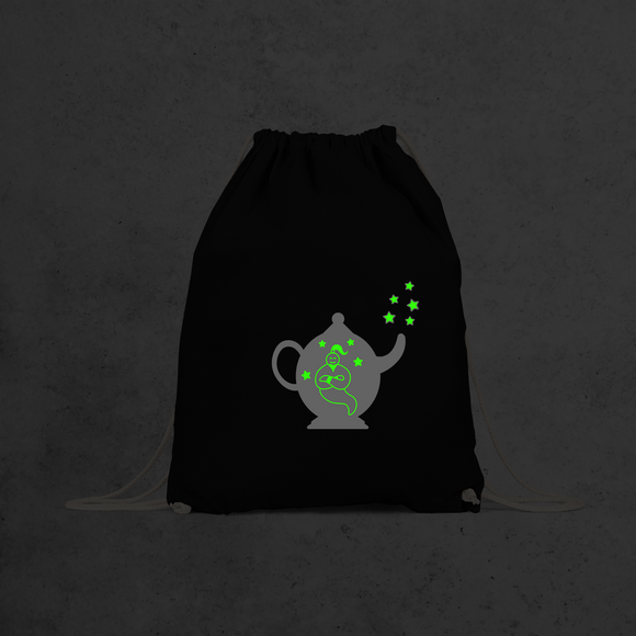 Genie in bottle glow in the dark backpack