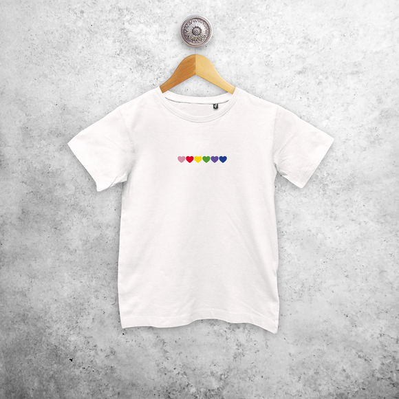 Hearts rainbow kids shortsleeve shirt