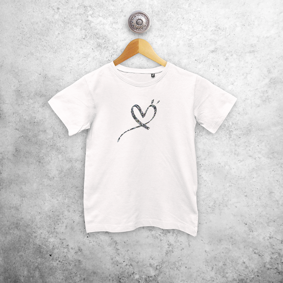 Glitter heart kids shortsleeve shirt