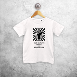 'Our climate needs a revolution' kids shortsleeve shirt