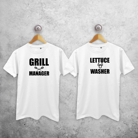 'Grill manager' & 'Lettuce washer' couples shirts