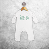 Green plants baby romper