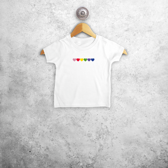 Hearts rainbow baby shortsleeve shirt