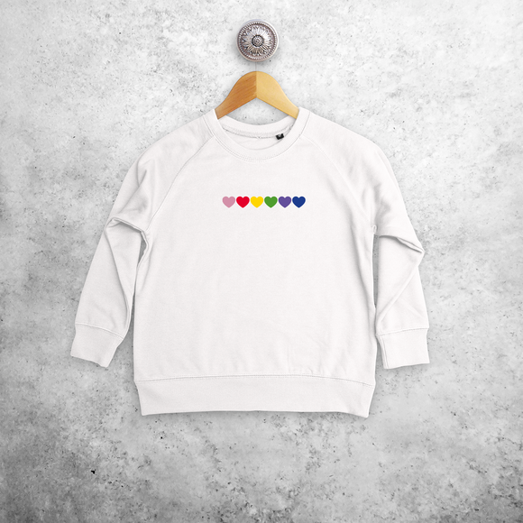 Hearts rainbow kids sweater